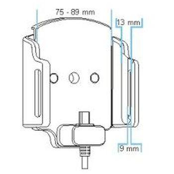 Brodit držák do auta nastavitelný s microUSB a nabíjením z cig. zapalovače/USB š. 75-89 mm, tl. 9-13