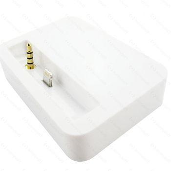 Dokovací/synchronizační kolébka eStuff pro iPhone 5 s audio výstupem, bílá