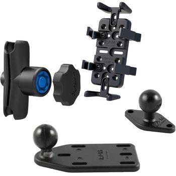 RAM Mounts univerzální držák na mobilní telefony, vysílačky, GPS navigace Finger-Grip s ramenem se zabezpečením na motorku na nádržku brzdové kapaliny, sestava RAM-B-183-UN4-KNOB3U