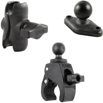 RAM Mounts sestava s lichoběž. adaptérem a krátkým ramenem s velkou svěrkou s ručním upínáním pro Ø  25,4 - 57,15 mm, vysokopevnostní plast, RAP-B-401-AU