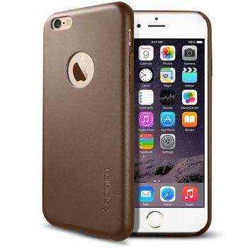 Spigen ochranný kryt Leather Fit pro iPhone 6, olivově hnědá