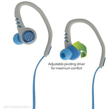 Scosche sportovní sluchátka s mikrofonem a ovládáním SportClip3, modro-šedé