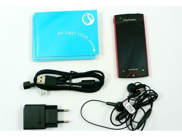 obsah balení Sony Ericsson Xperia ray - zlatá