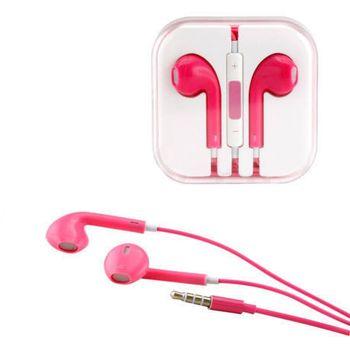 Sluchátka 3,5mm jack, ovladač hlasitosti, mikrofon, růžová