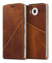 Mozo flipové pouzdro pro bezdrátové nabíjení pro Lumia 950, hnědé