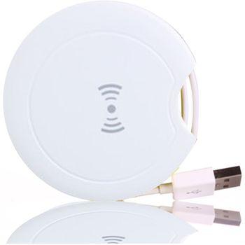Bezdrátová cestovní nabíjecí stanice s USB kabelem, QI standard, bílá