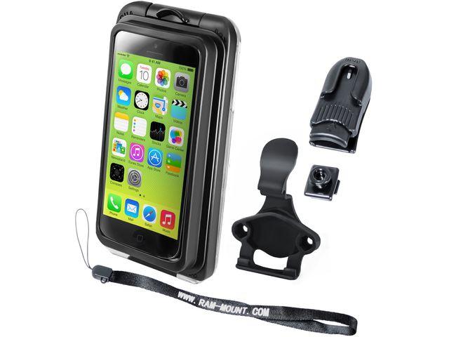 obsah balení RAM Mounts vodotěsný držák na iPhone 5S, 5C, AQUABOX® Pro 20 i5 s úchytem na motorku na řídítka do středu vidlice, sestava RAM-B-176-AQ7-2-I5CU