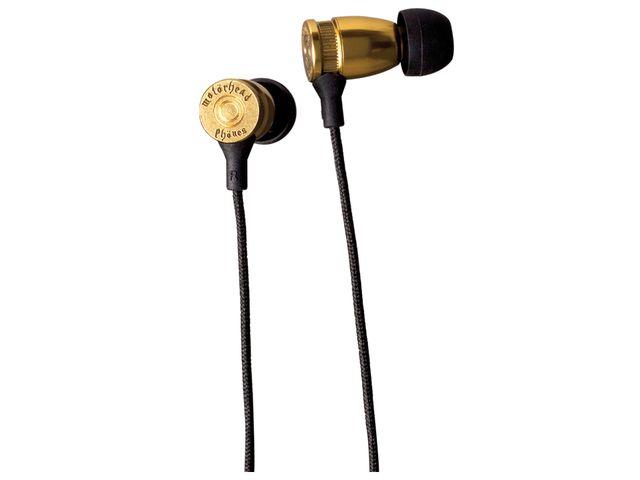 obsah balení Sluchátka Motörheadphönes Overkill s mikrofonem (mosaz) + Pouzdro Burner L (černá/červená)