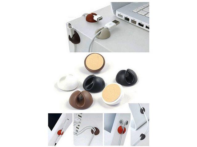 obsah balení Samolepící klip pro vedení kabelů do vozu nebo na stůl, silikon, černá