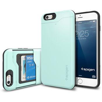 Spigen pevné pouzdro Slim Armor CS s přihrádkou na karty pro Apple iPhone 6 Plus, zelená