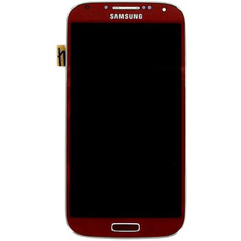 Náhradní díl LCD displej + dotyk + přední kryt pro Samsung i9505 Galaxy S4, červený
