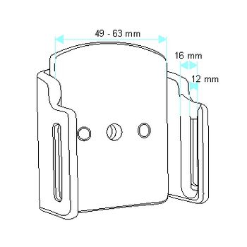 Brodit držák do auta na mobilní telefon nastavitelný, bez nabíjení, š. 49-63 mm, tl. 12-16 mm