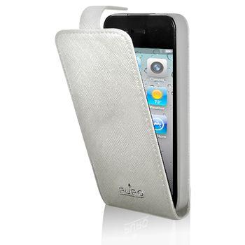 PURO kožené pouzdro iPhone 4/4S s vertikálním flipem - bílá