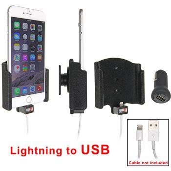 Brodit držák do auta na Apple iPhone 6 Plus bez pouzdra, s průchodkou pro Light. kabel, CL, samet