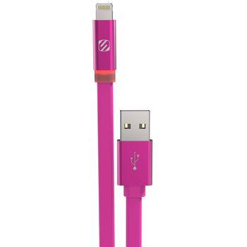 Scosche kabel FlatOUT LED s Lightning konektorem, 90cm, růžový